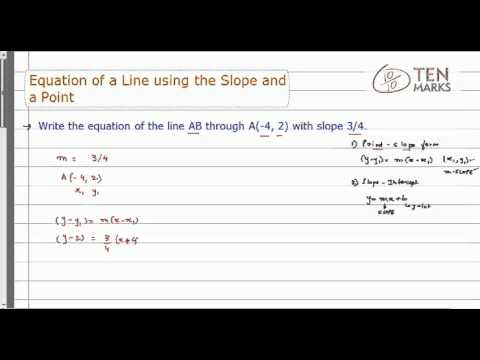 Equation of a line Using the Slope and a Point