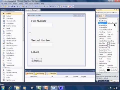 Visual Basic 2010 Express Tutorial 4 - Simple Calculator Part 1