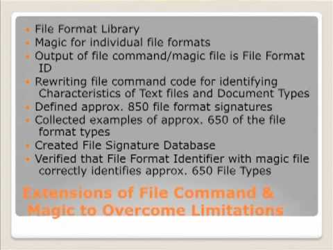 File Format Identification Technologies, William Underwood