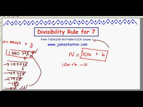 Divisibility Rule for Seven (TANTON Mathematics)