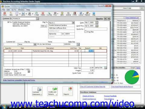 Peachtree Tutorial Entering Quotes Sage Training Lesson 10.1