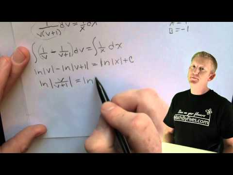 Separable First Order DE using y=vx Example 1 .mov