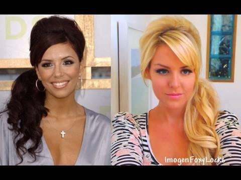Big, Curly Side Ponytail Inspired by Eva Longoria + Kim Kardashian