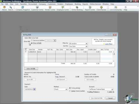 QuickBooks Tutorial - Paying Inventory in QuickBooks Pro 2011