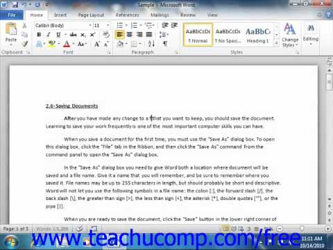 Word 2010 Tutorial Deleting Text Microsoft Training Lesson 3.1