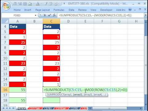 Excel Magic Trick 377: Add Every Other Number In Range of Cells