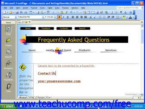 FrontPage Tutorial Creating E-Mail Hyperlinks Microsoft Training Lesson 7.2