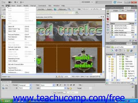 Dreamweaver CS5 Tutorial Finding and Replacing Text Adobe Training Lesson 12.3
