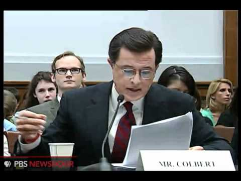 Colbert stays in character at congressional hearing