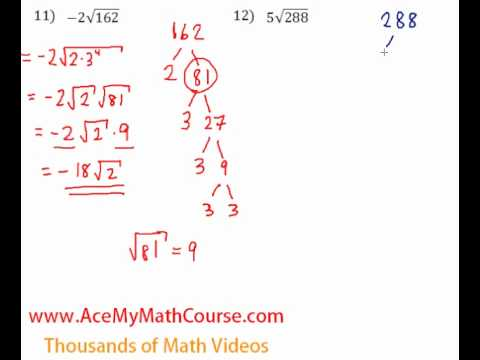 Simplifying Radicals - Questions #11-12