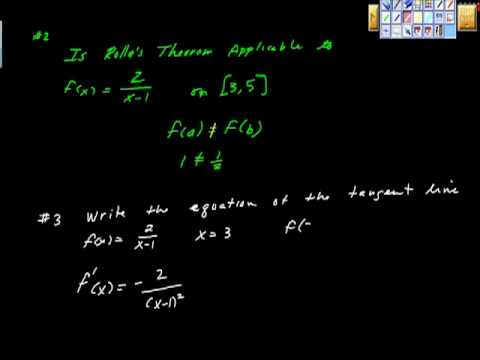 Rolle's Theorem and Mean Value Theorem (mult Choice) Ap Calculus