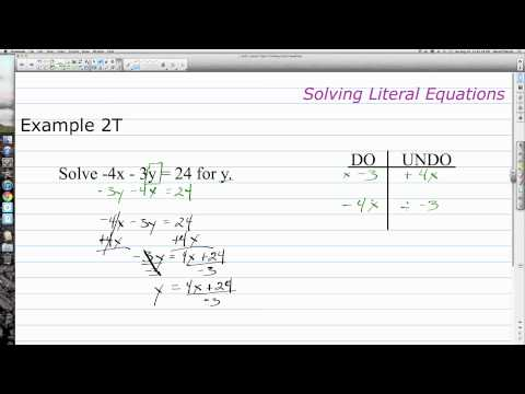 Unit 1 Lesson Topic 7 Literal Equations and Formulas
