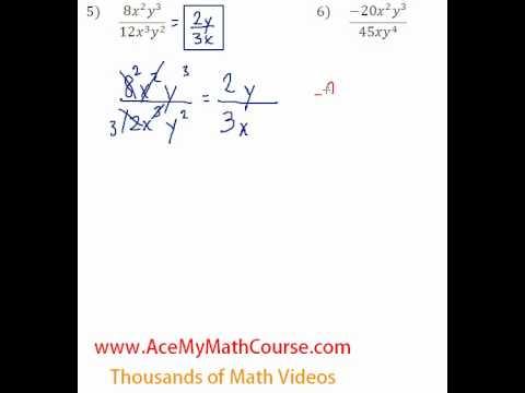 Polynomials - Dividing Monomials #5-6