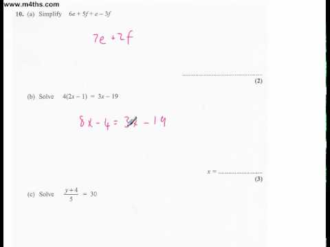 q10 Edexcel Linear Higher June 2011 calculator (quick worked example)