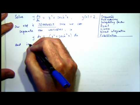 Separable ODEs: an initial value problem