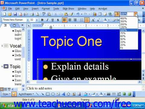 PowerPoint 2003 Tutorial Zooming a Presentation Microsoft Training Lesson 5.5