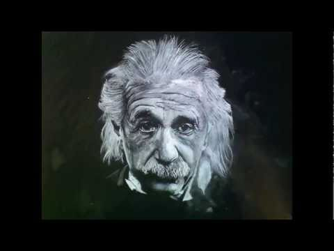 White Charcoal Drawing of Albert Einstein