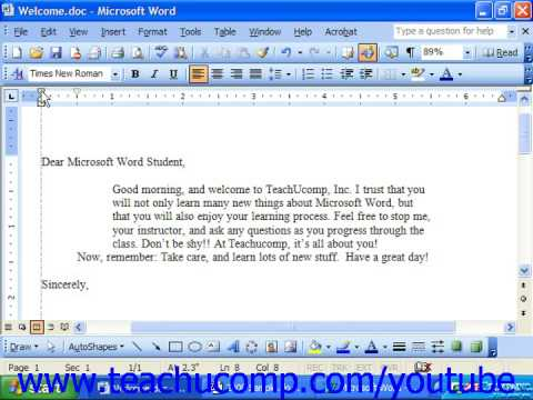 Word 2003 Tutorial Indenting Paragraphs with the Horizontal Ruler Microsoft Training Lesson 6.3