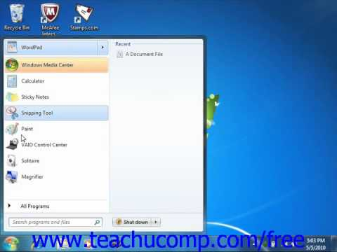 Windows 7 Tutorial Customizing the Start Menu Microsoft Training Lesson 3.4