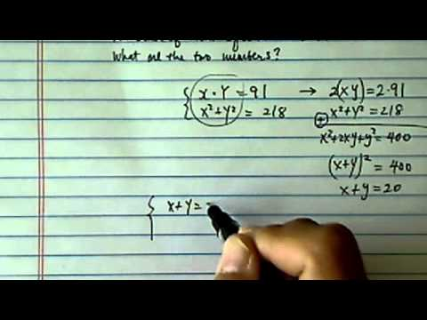 System of non-linear Equations: The product of 2 positive #s is 91...