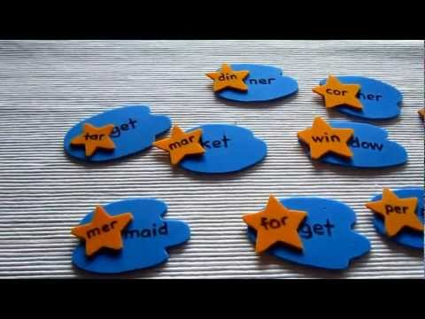 Preschool - Reading-Phonics-Spelling: Stars and sky game for matching 2 syllable words