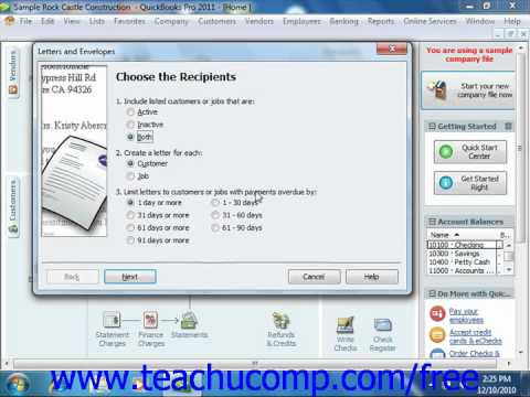 QuickBooks 2011 Tutorial Using the Write Letters Wizard Intuit Training Lesson 24.1