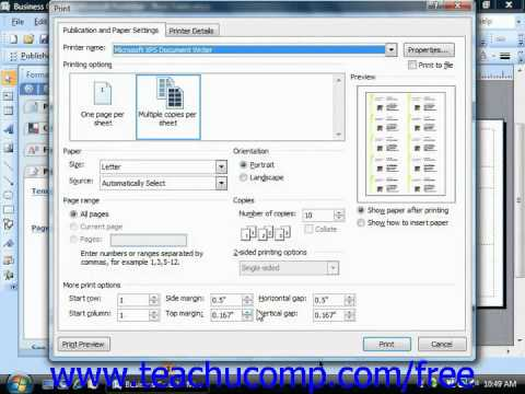 Publisher 2003 Tutorial Adjusting Print Setup Options Microsoft Training Lesson 2.4