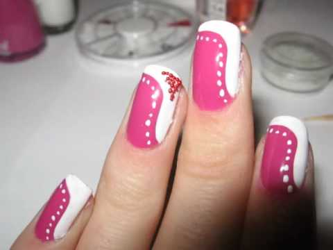 Tutorial: pink nails with white dots