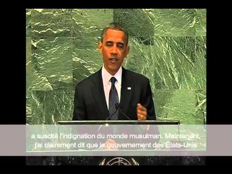 Obama Address at U.N. U.S. : Respects Freedom of Religion with French Subtitles