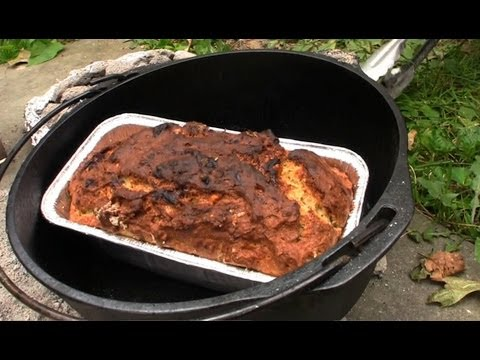 Outdoor Cooking in a Dutch Oven Banana Bread GardenFork.TV