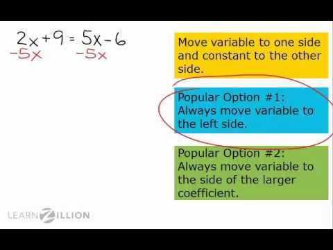 Solve equations with variables on both sides - 8.EE.7