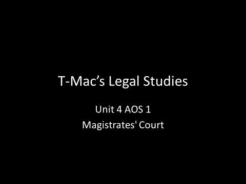 VCE Legal Studies - Unit 4 AOS1 - Magistrates' Court
