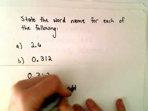 Word Names for Numbers Involving Decimals