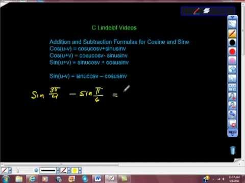 Trig Finding Exact Values Using Addition and Subtraction Formulas Sine and Cosine