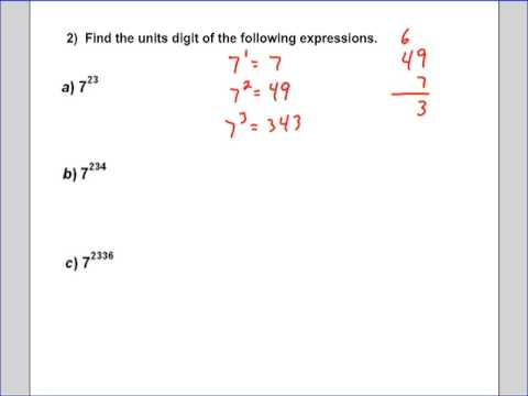 Units Digit of an exponential Part 1