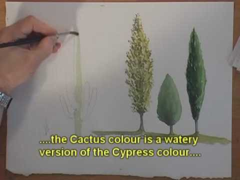 Watercolor Trees - Cypress, Cactus and Poplar