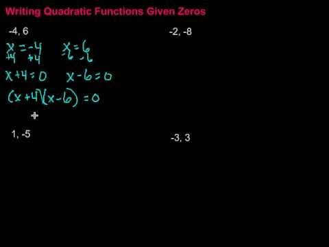 Writing Quadratic Functions Given Zeros