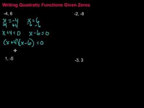 Writing Quadratic Functions Given Zeros