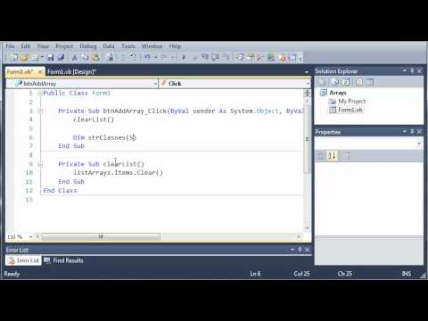 Visual Basic Tutorial - 59 - Introduction To Arrays
