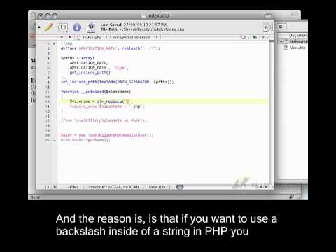 Advanced PHP Closed Captioned - Auto-Loading Classes with Namespaces Part 3
