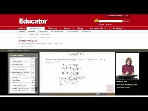 Algebra: Inverse Variation