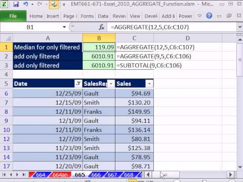 Excel 2010 Magic Trick 665: AGGREGATE function Ignores Filtered Values When Making Calculations