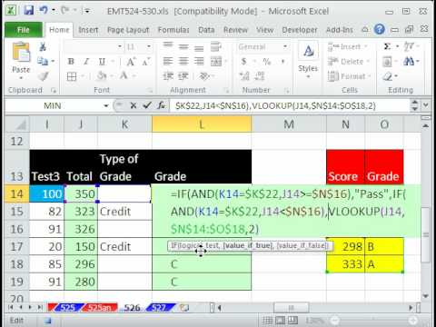 Excel Magic Trick 526: Grading Pass / Fail or Letter Grade Formula IF, AND, VLOOKUP functions