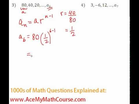 Geometric Sequences - Finding a Specific Term Question #3