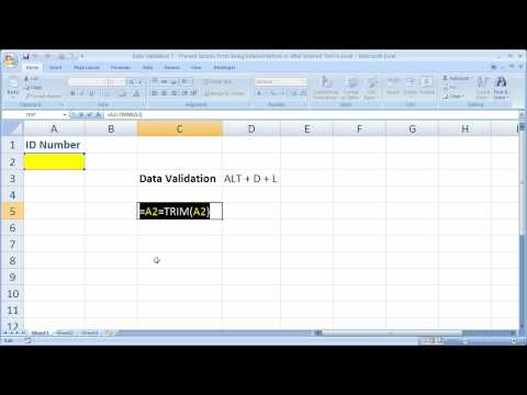 Data Validation 7 - Prevent Spaces From Being Entered Before or After Text in Excel