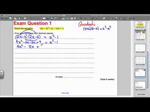 Solving quadratics (quadratic formula) -EXAM QUESTION