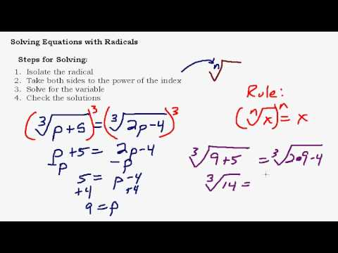 Solving Equations With Radicals Part 1 of 3