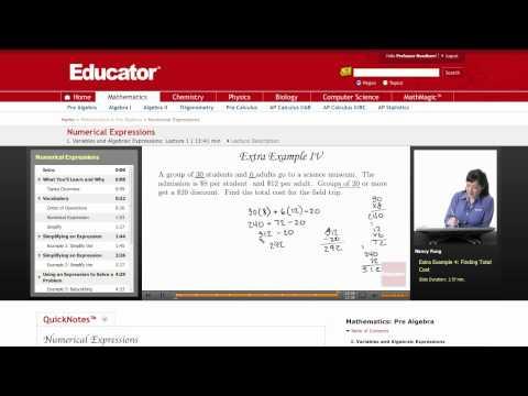 Pre Algebra: Numerical Expressions