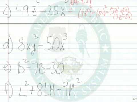 Factor Binomials and Trinomials