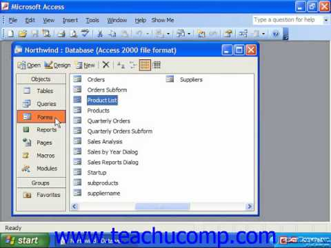 Access 2003 Tutorial Database Objects Microsoft Training Lesson 1.5